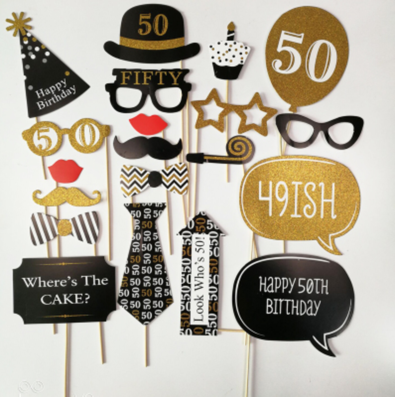 50th Birthday Photobooth Props - Party Decorations Singapore @ MR Party
