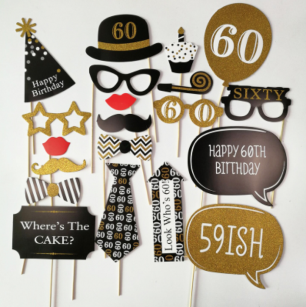 60th Birthday Photobooth Props - Party Decorations Singapore @ MR Party