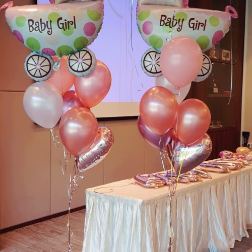 Baby Girl Baby Shower Carriage cluster Balloon Decorations @ MR Party Singapore