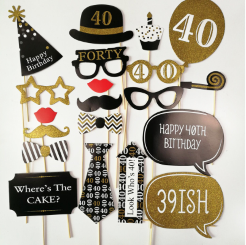 40th Birthday Photobooth Props - Party Decorations Singapore @ MR Party
