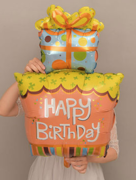 Happy Birthday Printed 3 Tier Cake shaped Foil Balloon @ MR Party - Balloon Shop Singapore