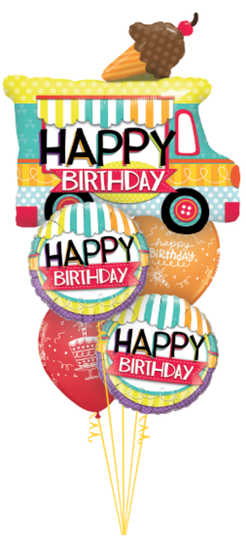 [Birthday Balloon] Happy Birthday ICE CREAM truck Foil Balloon [Jumbo]