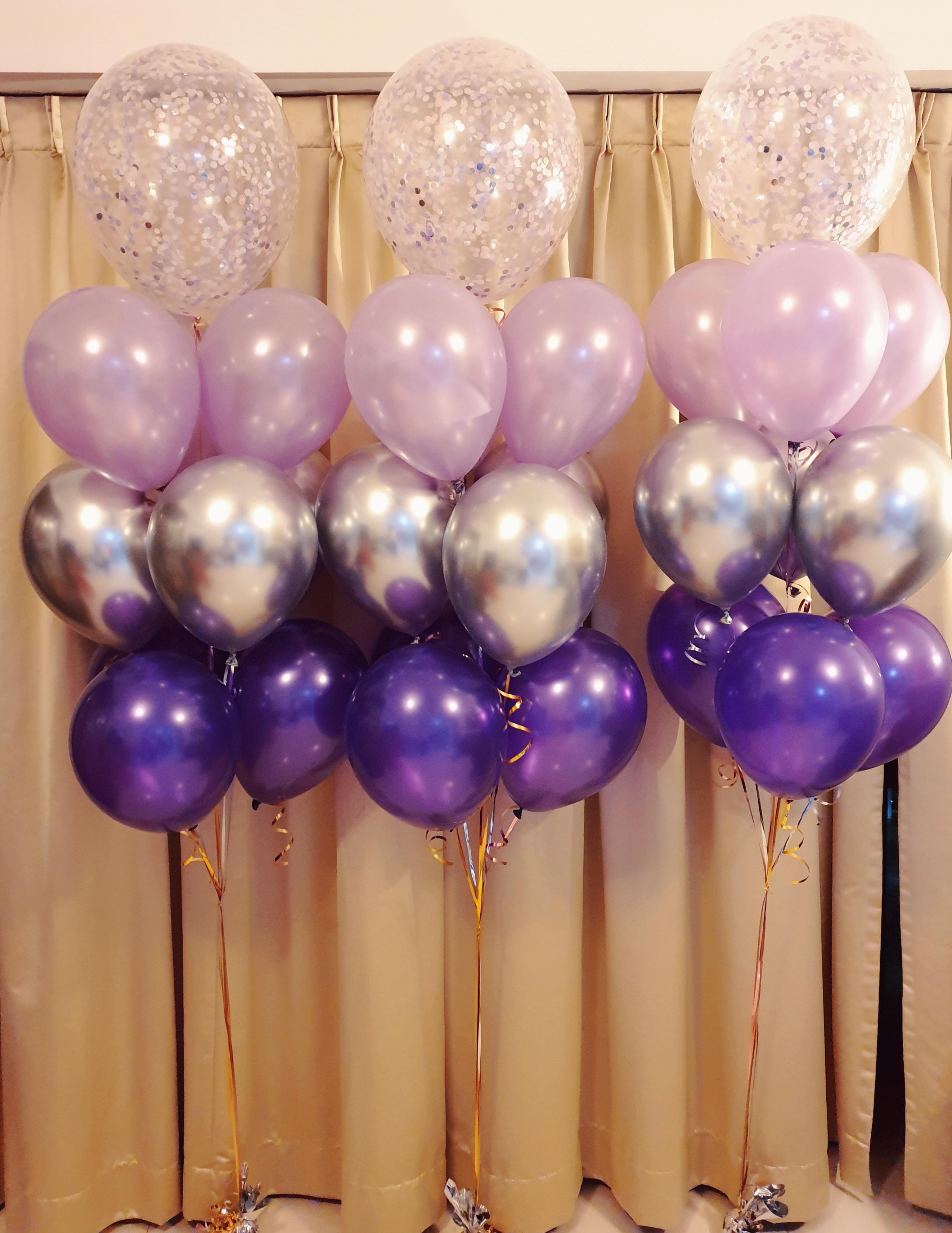 [Balloon Cluster] Tri-Tone Classic Purple series @ MR Party - Balloon Shop Singapore