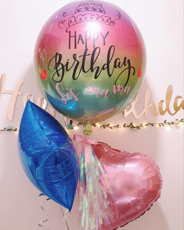 [Personalised Balloon] 16 Inch Orbz Ombre Rainbow @ MR Party - Balloon Shop Singapore
